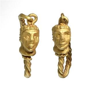 Greek Gold Earrings, Male Janus Heads, c. 3rd-1st