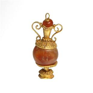 Roman Gold and Cornelian Amphora Pendant