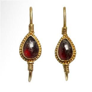 Roman Gold and Garnet Earrings