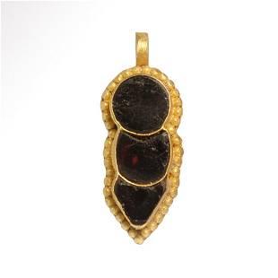Gothic Gold and Garnet Pendant