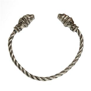 Greek Silver Bracelet with Lions Heads, c. 3rd-2nd