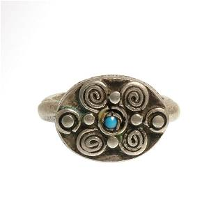 Viking Silver Ring with Spiral Patterns and Turquoise