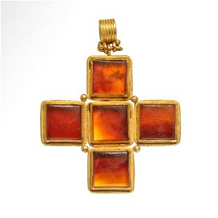 Medieval Gold and Cornelian Cross, c. 12th Century A.D.