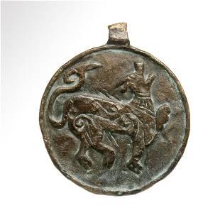 Viking Bronze Amuletic Pendant with Mythological Animal