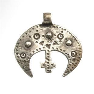 Viking Silver Lunar Pendant, c. 9th-10th Century A.D.