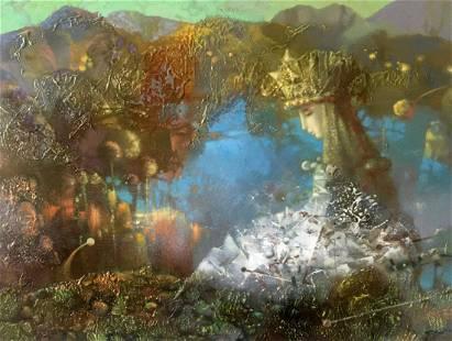 Abstract oil painting Mountain Lake Anatoly Borisovich