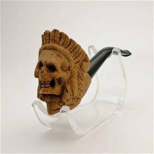 Indian Warrior Skull,Hand carved Meerschaum Pipe