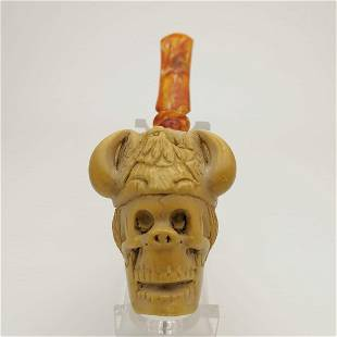 Viking Warrior Skull Meerschaum Pipe