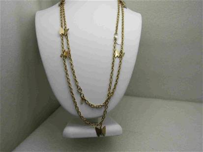 """Vintage Sarah Coventry Gold Tone Butterfly Necklace 50"""""""