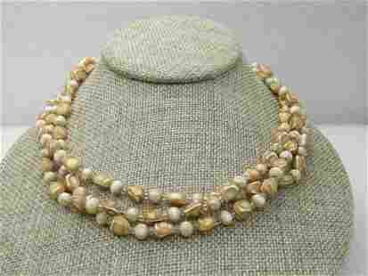 Vintage Triple Strand white/Gold Necklace, Nugget-like.