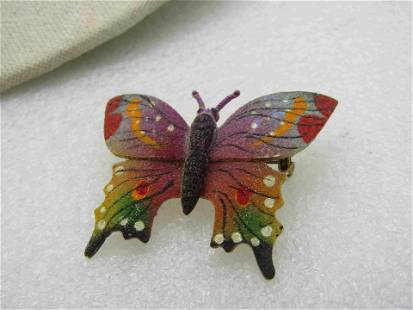 Vintage Matte Painted Butterfly Brooch, over Gold Tone