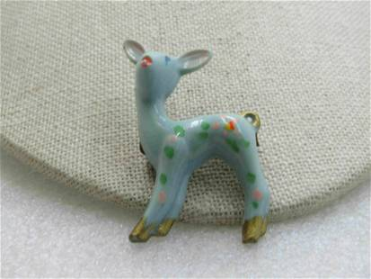 Vintage Blue Arylic & Painted Fawn/Deer Brooch,