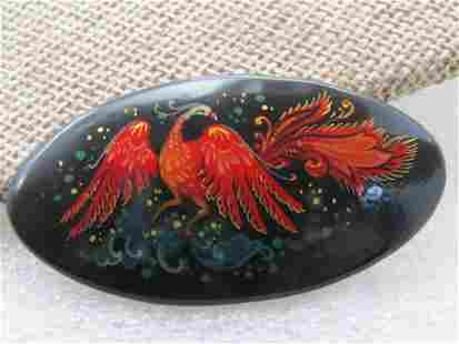 """Vintage Black Lacquered Red Bird Brooch, on Wood, 2"""""""