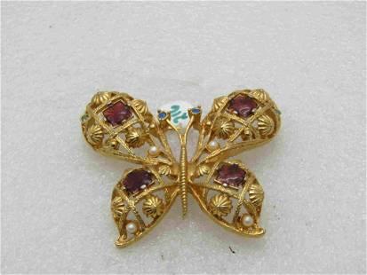 Vintage Avon Rhinestone Butterfly Brooch Faux Pearls