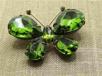 """Vintage Green Rhinestone Butterfly Brooch, 2"""" wide"""