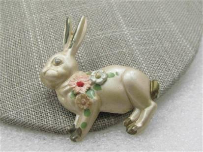 Vintage Plastic Painted Rabbit Brooch, 1930's-1940's