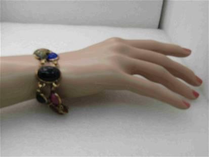 """Vintage Egyptian Scarab Bracelet, 12kt G.F. 7.25"""","""