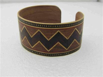 "Vintage Tribal Inlaid Wooden Cuff Bracelet, 7.25"","