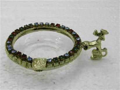 Vintage Glass & Rhinestone Poodle Ashtray,