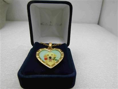 Danbury Mint Golden Retriever Heart Pendant Neclace,