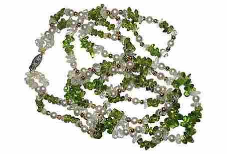 Peridot & Rock Crystal Bead Necklace