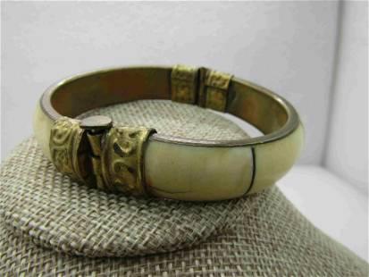 Vintage Brass & Shell Tribal Clamper Bracelet, Pin