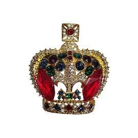 Butler and Wilson Costume Rhinestone Crown Pin