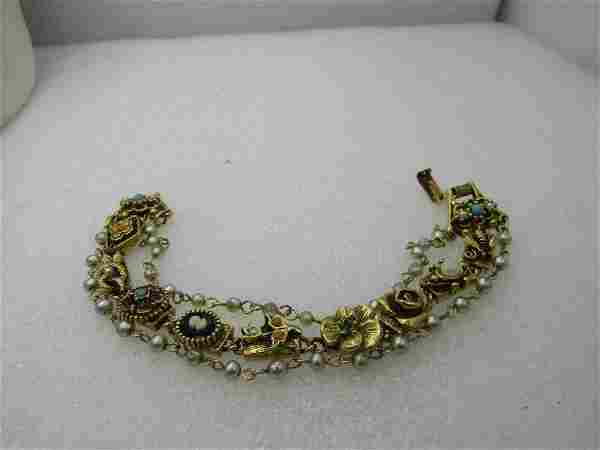 Vintage Victorian Themed Triple Strand Faux Pearl,