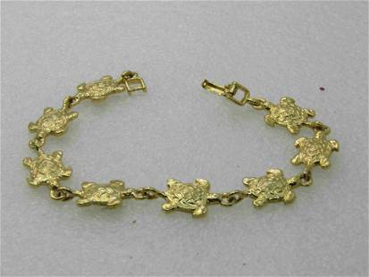"Gold Tone 8"" Turtle Link Bracelet, 1980's-1990's"