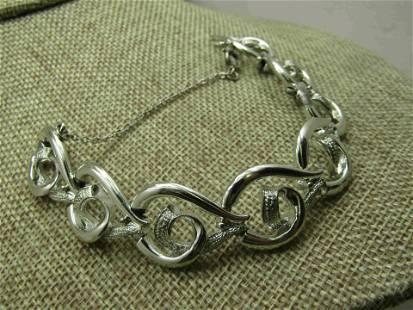 Vintage Coro Silver tone Curved Link Bracelet, Safety