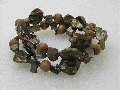 Brown Shell & Wooden Beaded Bracelet, Coiled, 3 wraps.
