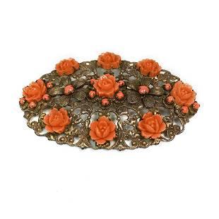Celluloid Roses on Filigree Brooch