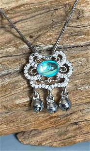 Chinese lock design moonstone necklace