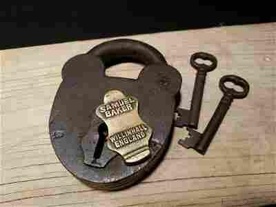Cast Iron Padlock Lock & Key