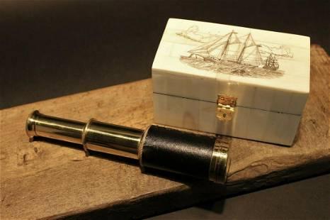 Sailboat Bone & Wood Scrimshaw Box w Telescope