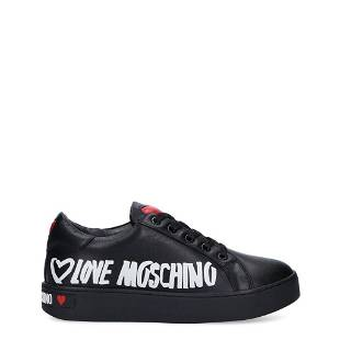 Love Moschino Black Faux Leather Low Top Sneakers