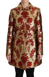 Dolce & Gabbana Red Gold Floral Brocade Cape Coat