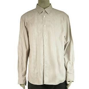 Ermenegildo Zegna Brown Grid Check Jacquard Shirt Long