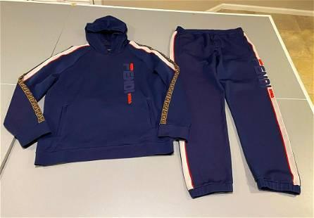 Authentic Fendi Navy blue Jogging Track Suit FF Logo