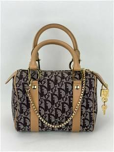 Christian Dior Trotter Mini Boston Brown Canvas Leather