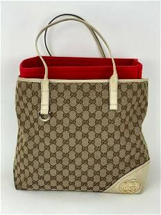 Gucci GG Monogram Canvas Large Britt Tote Bag Off-White