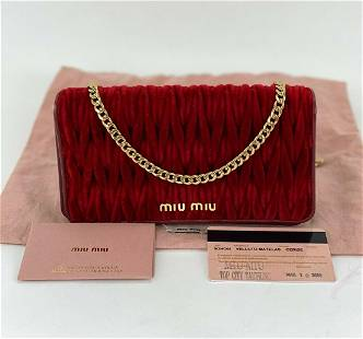 Miu Miu Cerise Red Leather Velvet Wallet on a Chain WOC