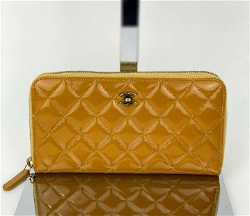 Chanel Quilted Yellow Patent Leather Brilliant Zip