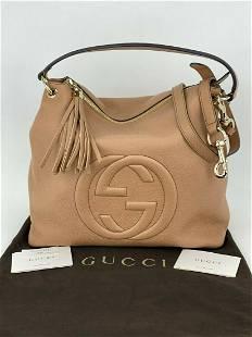Gucci Pebbled Calfskin Leather Large Soho Hobo Rose