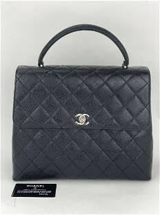 CHANEL Matelasse Top Handle Black Caviar Skin Leather