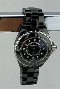 CHANEL J12 Diamonds Black Ceramic Ladies Watch H1625