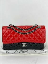 CHANEL Patent Leather Red Black Calfskin Quilted Medium