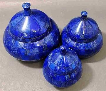 Intersting Set Of Polished Lapis Lazuli Pots -