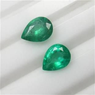 1.78 Ct Natural Zambian Emerald Pear Pair