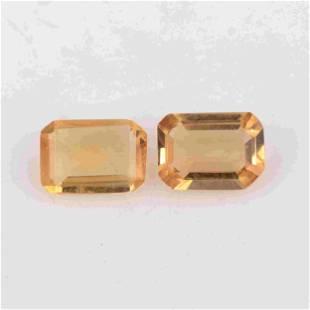 1.3 Ct Yellow Octagon Citrine Loose Gemstone 2 Pieces